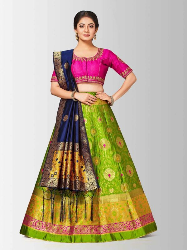 Mimosa bridal semi stitched art silk wedding lehenga choli