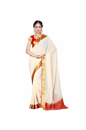 MIMOSA Simple Zari Design Chiffon Saree and Blouse in Color Off White and Red (3309-2095-hwt-red) - mimosaindia