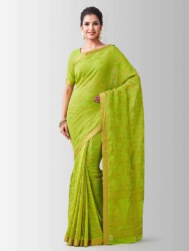 Mimosa chiffon saree with unstiched blouse - green