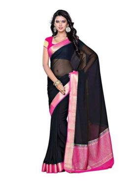 Mimosa chiffon saree with unstiched blouse - multicolor