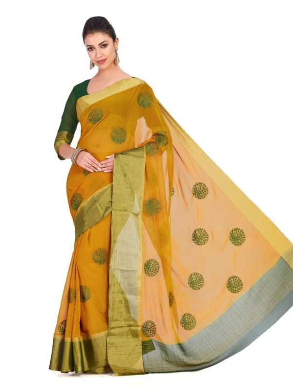 Mimosa chiffon saree with unstiched blouse - mustard