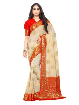 Mimosa chiffon saree with unstiched blouse - off-white