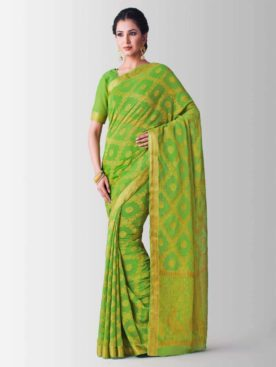 Mimosa chiffon saree with unstiched blouse - olive