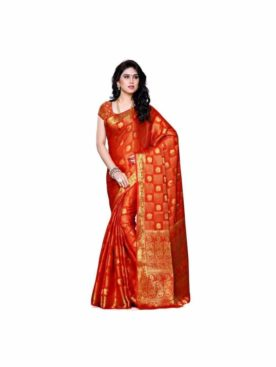 MIMOSA Golden Touch Bright Chiffon Saree and Blouse in Color Orange (3302-221-orng) - mimosaindia
