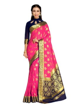 Mimosa chiffon saree with unstiched blouse - pink