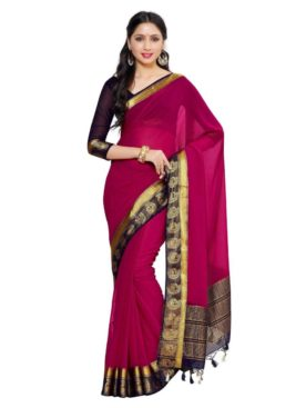 MIMOSA Party Wear Chiffon Saree with Blouse in Color Dark Pink (4039-2138-2d-rni-nvy) - mimosaindia