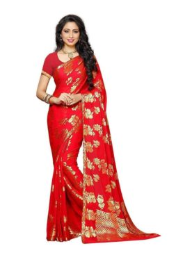 Mimosa chiffon saree with unstiched blouse - red