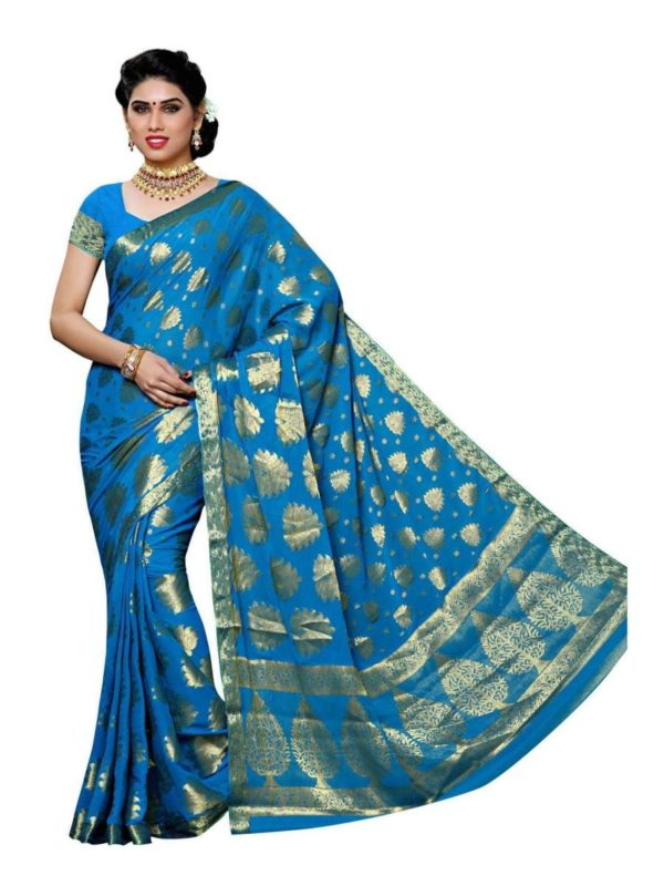 MIMOSA Zari Work Chiffon Kanjivaram Saree with Running Blouse in Color Sky Blue (3421-2101-anda) - mimosaindia
