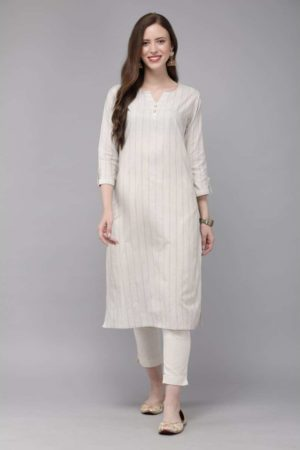 Mimosa cotton beige colour striped straight casual kurta for