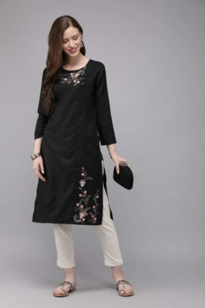 Mimosa cotton black colour embroidered straight casual kurta