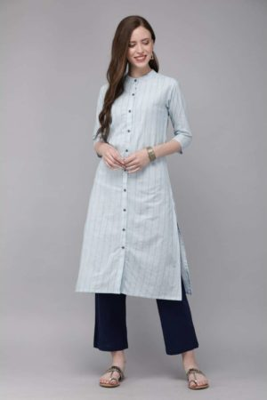 Mimosa cotton blue colour striped straight casual kurta for