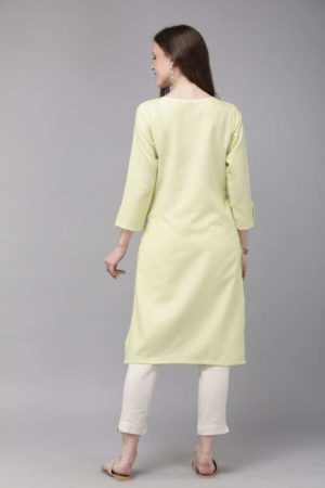 Mimosa cotton green colour embroidered straight casual kurta