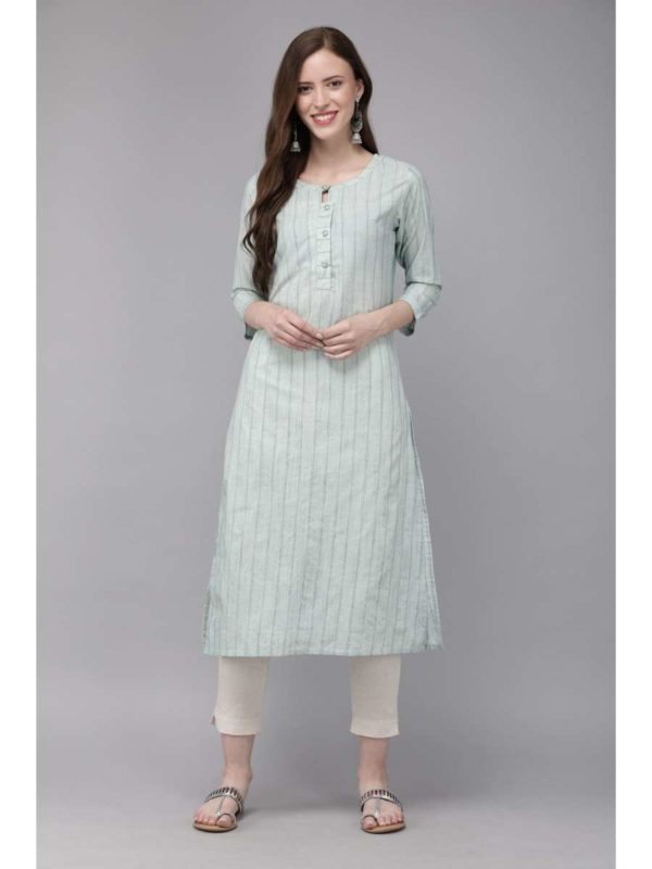 Mimosa cotton green colour striped straight casual kurta for