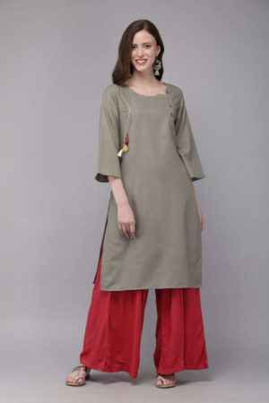 Mimosa cotton khaki colour embroidered straight casual kurta