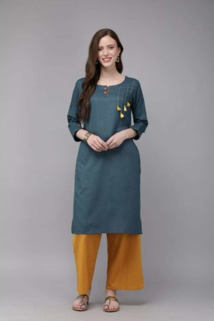 Mimosa cotton navy blue colour solid straight casual kurta