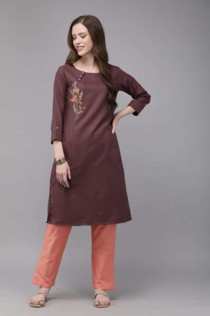 Mimosa cotton purple colour embroidered straight casual