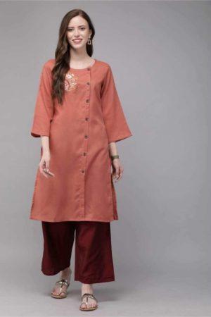Mimosa cotton rust colour embroidered straight casual kurta