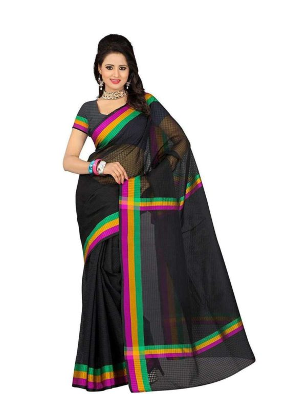 Mimosa cotton saree with unstiched blouse - black