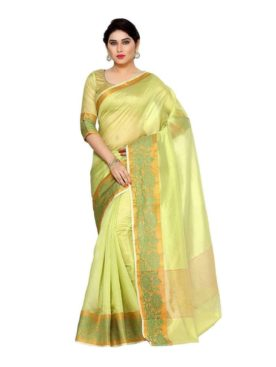Mimosa cotton saree with unstiched blouse - green