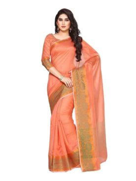 Mimosa cotton saree with unstiched blouse - peach