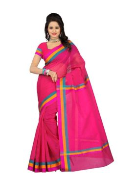 Mimosa cotton saree with unstiched blouse - pink