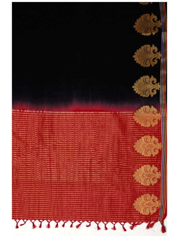 MIMOSA Black and Red Plain Crepe Kanjivaram Style Saree with Contrast Unstiched Blouse (4031-235-blck) - mimosaindia