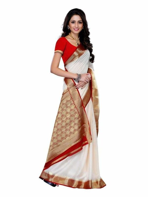 MIMOSA Classic Zari Design Crepe Saree with Blouse in Color Off-White (3200-2077-hwht-rmrn) - mimosaindia