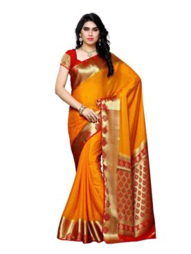MIMOSA Latest Collection Crepe Kanjivaram Style Saree with Blouse in Color Gold and Red (3391-2112-gld-rd) - mimosaindia