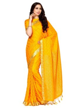 Mimosa crepe saree with unstiched blouse - gold