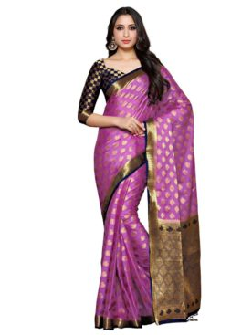 Mimosa crepe saree with unstiched blouse - lavender