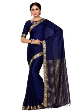 Mimosa crepe saree with unstiched blouse - navy blue
