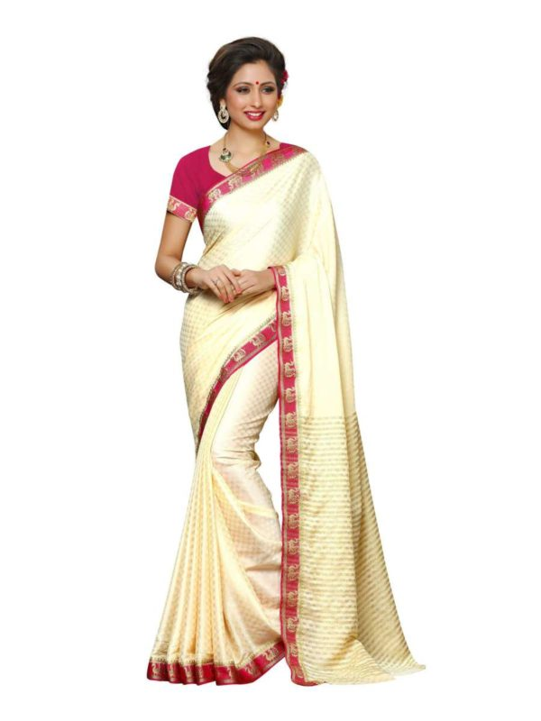 Mimosa crepe saree with unstiched blouse - off-white