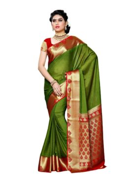 Mimosa crepe saree with unstiched blouse - olive