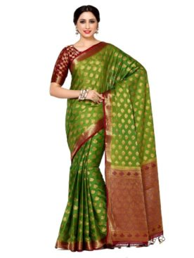 MIMOSA Small Motif Design Border Crepe Saree with Blouse in Color Olive and Maroon (4043-239-2d-olv-mrn) - mimosaindia