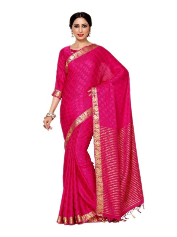 Mimosa crepe saree with unstiched blouse - pink