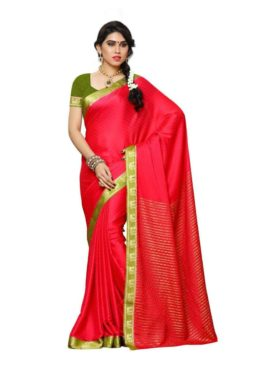 MIMOSA Peacock Design Border Crepe Kanjivaram Style Saree with Blouse in Color Strawberry (3436-2122-strb-olv) - mimosaindia