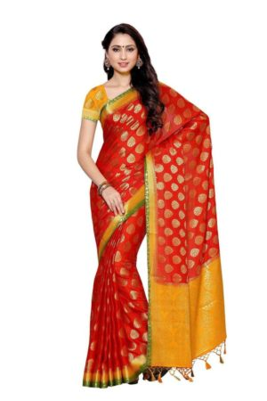 MIMOSA Leaf Pattern Crepe Silk Kanjivaram Style Saree with Blouse in Color Red (4016-2136-3d-rd) - mimosaindia