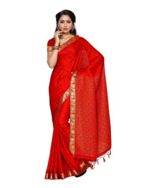 Mimosa crepe saree with unstiched blouse - red
