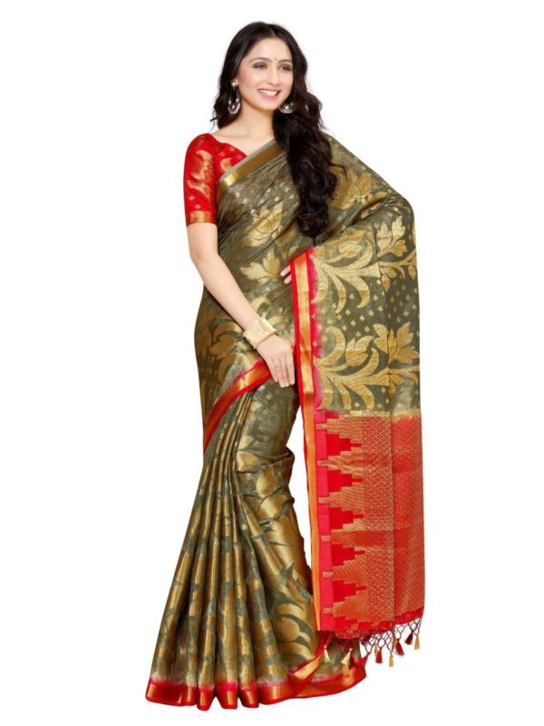 MIMOSA Lotus Flower Design Art Silk Kanjivaram Style Saree with Blouse in Color Grey and Red (4053-247-2d-pgrey-rd) - mimosaindia