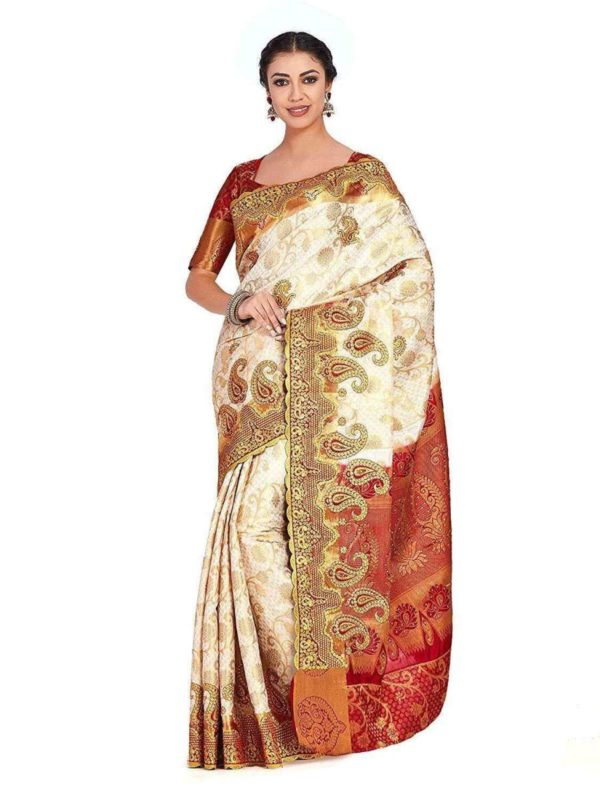Mimosa kanjivaram art silk saree with unstiched blouse -
