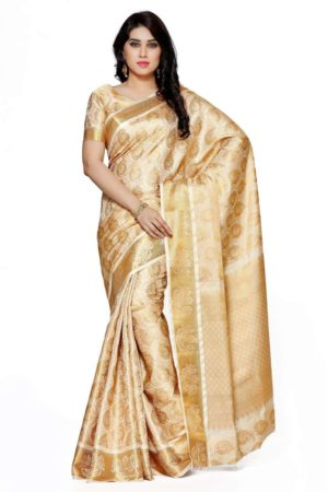 MIMOSA Party Wear Art Silk Kanjivaram Style Saree with Blouse in Color Off White/Beige (4105-257-sd-hwt) - mimosaindia
