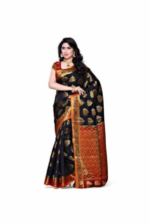 MIMOSA Classic Design Kanjivaram Art Silk Saree with Unstiched Blouse in Color Black and Red (3313-161-blk-rd) - mimosaindia
