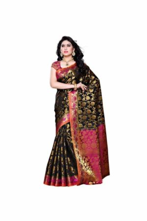 MIMOSA Kanjivaram Art Silk Saree with Floral Design and Blouse in Color Black and Dark Pink (3297-153-blk-rni) - mimosaindia