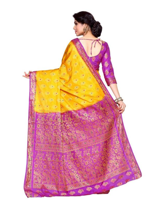 MIMOSA Peacock Design Pallu and Border Art Silk Kanjivaram Style Saree with Blouse in Color Gold and Lavender (4141-206-2d-gld-lev) - mimosaindia