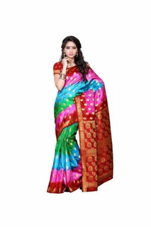 MIMOSA Party Wear Kanjivaram Art Silk Saree with Blouse in Multicolor - mimosaindia