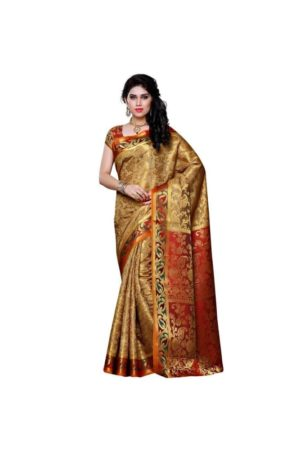 MIMOSA Kanjivaram Art Silk Saree with Fully Motif Design and Blouse in Color Chiku and Maroon (3296-140-cku-mrn) - mimosaindia