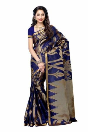 MIMOSA Navy Blue Color Tussar Silk Saree with Blouse in Floral (3216-163-navy) - mimosaindia