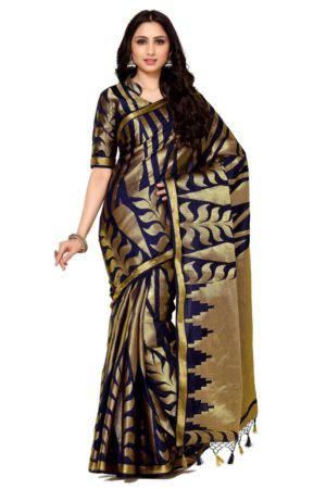 MIMOSA Gold Design All Over Art Silk Kanjivaram Style Saree with Blouse in Color Navy Blue (4086-293-nvy) - mimosaindia