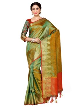 MIMOSA Kalash Design Border Art Silk Kanjivaram Style Saree with Blouse in Color Gold (4037-246-gr-2d-gld-mrn) - mimosaindia