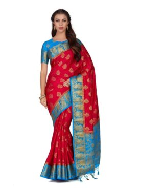 Mimosa Art silk saree Kanjivarm Pattu style With Contrast Blouse - mimosaindia